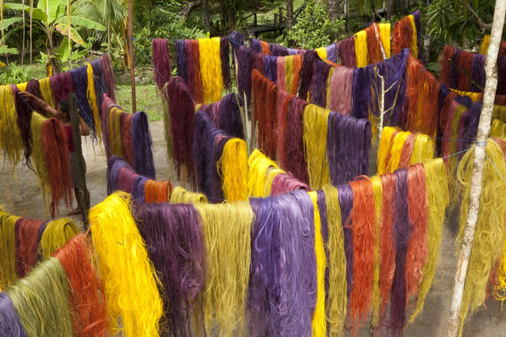 Tinted fique fibers drying in the Amazon, from Color Amazonia, 2006–13. Jorge Montoya, photographer.