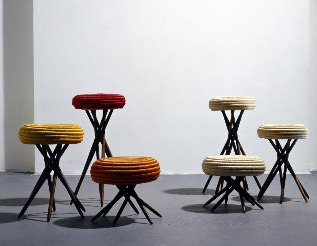 Corcora stools, 1993. Woven by artisans from the Guacamayas community in Colombia. Fique fiber spiral-woven over esparto fiber, macana palm wood base. Andres Valbuena, photographer.